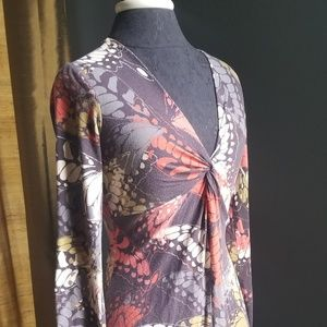 CAbi Dresses - CAbi Long Sleeve Dress Style 217 Butterfly Print